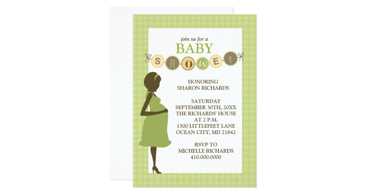 green and yellow baby shower invitation