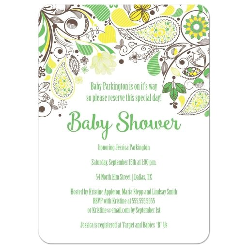 yellow and green paisley neutral baby shower invitation