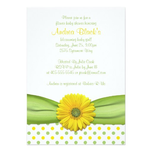 Green and Yellow Baby Shower Invitations Yellow and Green Polka Dots Baby Shower Invitation