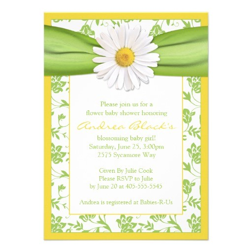 yellow green daisy floral baby shower invitation