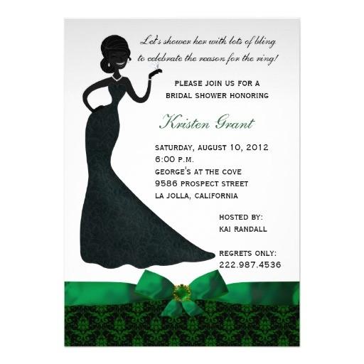 emerald green damask bridal shower invitation