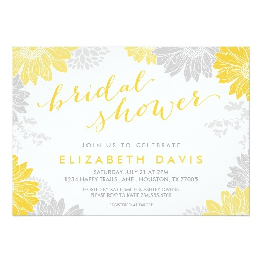 gray and yellow modern floral bridal shower invitation 161680180364163338