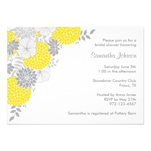Grey and Yellow Bridal Shower Invitations Yellow and Grey Floral Bridal Shower Invitations Zazzle
