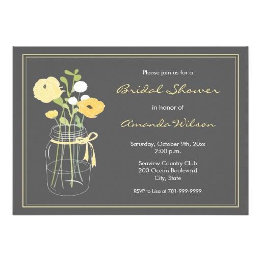 yellow and grey mason jar bridal shower invitation 161183795860119742