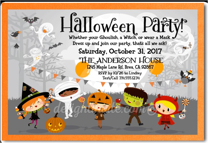 costume halloween party invitation p 1677