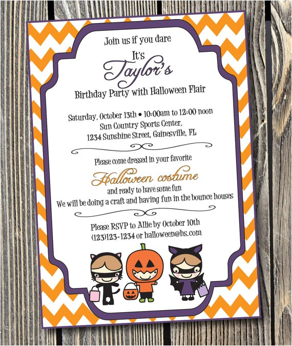 halloween birthday party custom printable invitation