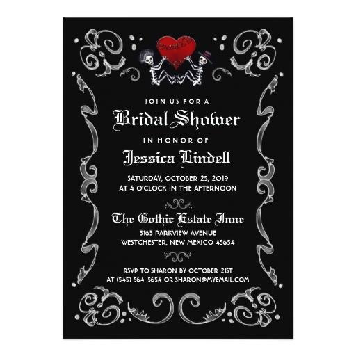 black white halloween skeleton bridal shower card