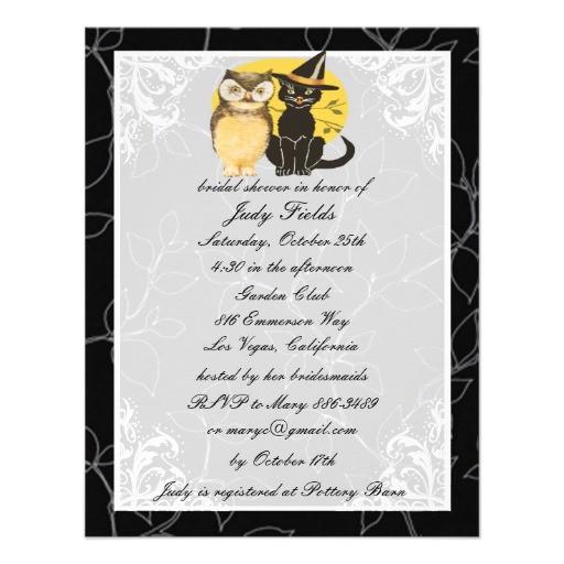 cat owl halloween bridal shower invitation