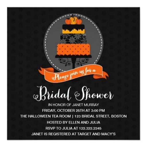 elegant halloween cake bridal shower invitation