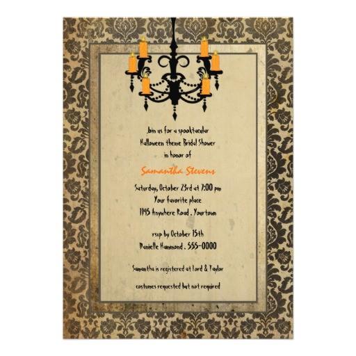 halloween damask and chandelier bridal shower invitation