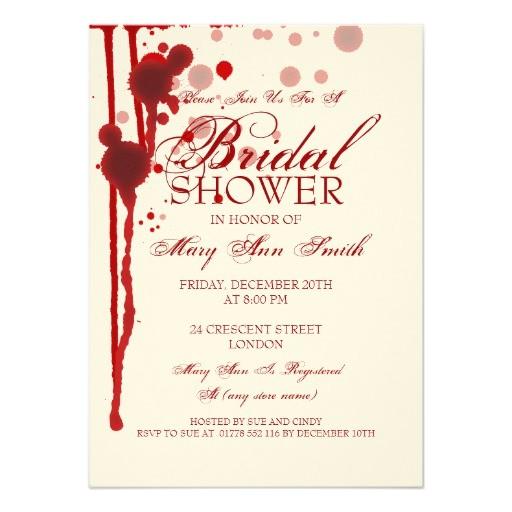 vampire halloween bridal shower fake blood red invitation