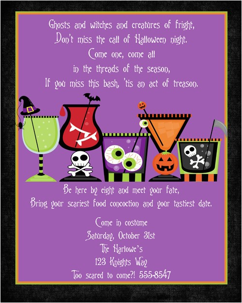 Creepy Cocktails Halloween Party Invitations