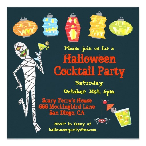 mummy halloween cocktail party invitations
