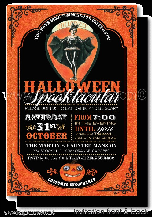 vintage halloween cocktail party invitations p 5217