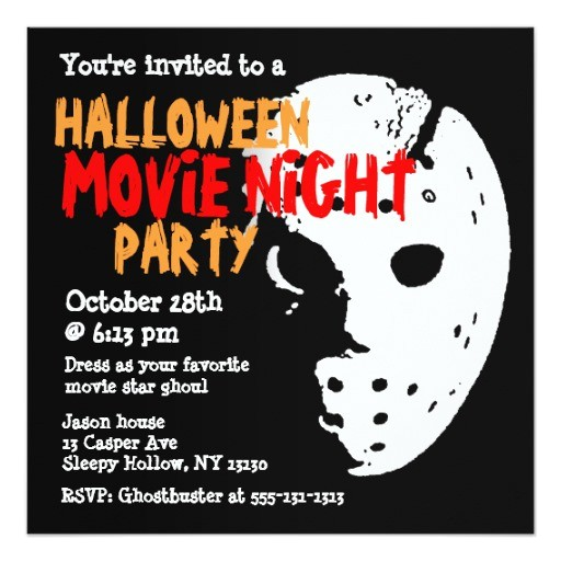 halloween party invitation movie night mask