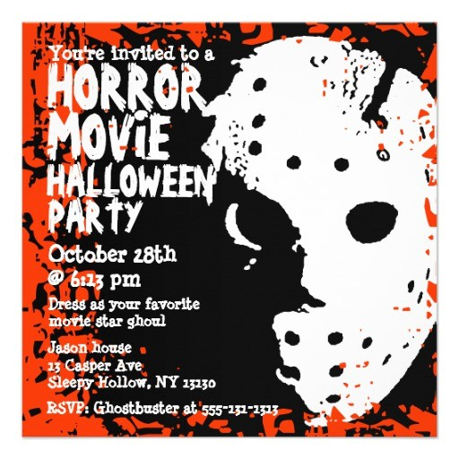 horror movie halloween party invitation
