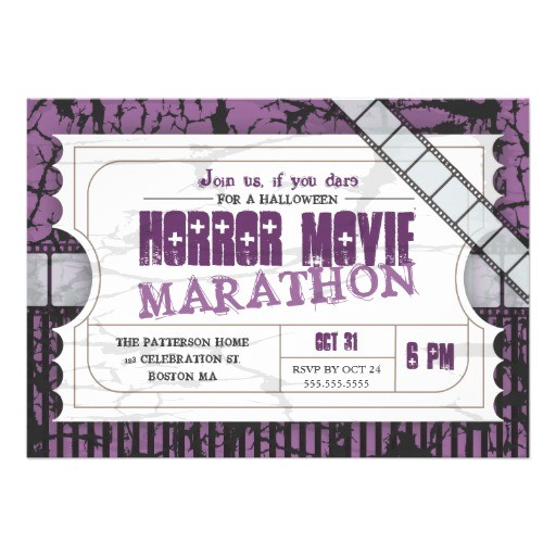 Halloween Movie Party Invitations Movie Ticket Halloween Horror Movie Party 5×7 Paper