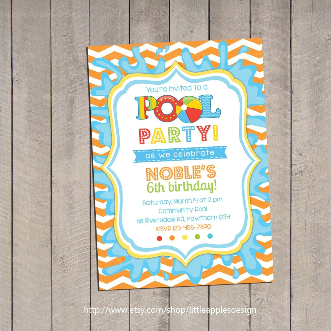 kids pool party invitation pool party