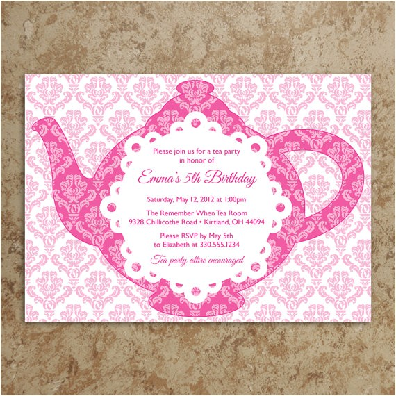 tea party invitation diy printable pdf