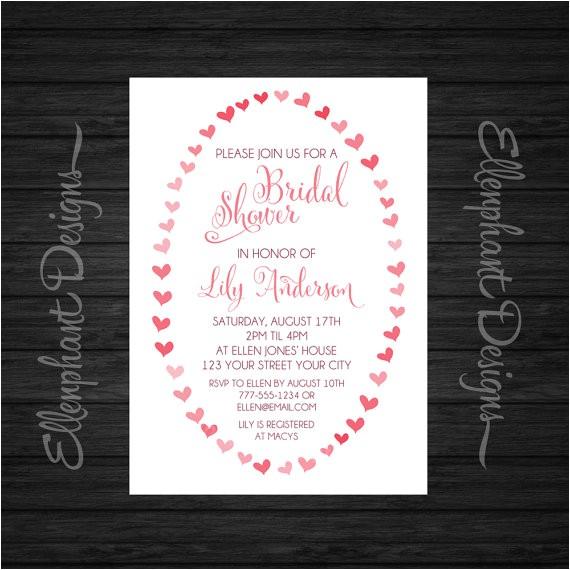 bridal shower invitation heart frame