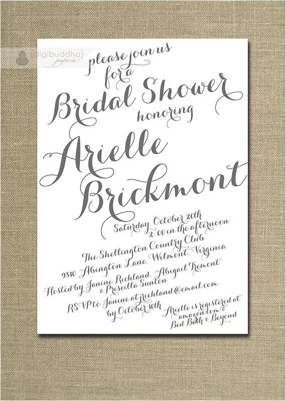 modern script bridal shower invitation gray