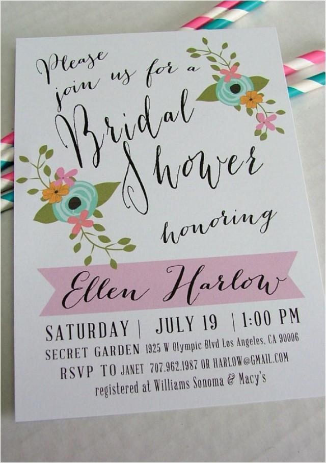 printable bridal shower invitation ellen diy floral and pink handwritten look wedding shower invite new