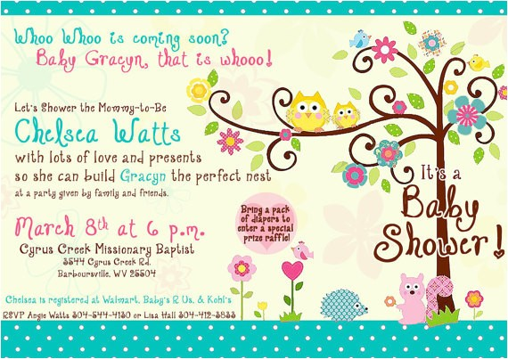 happi tree owl baby shower invitation