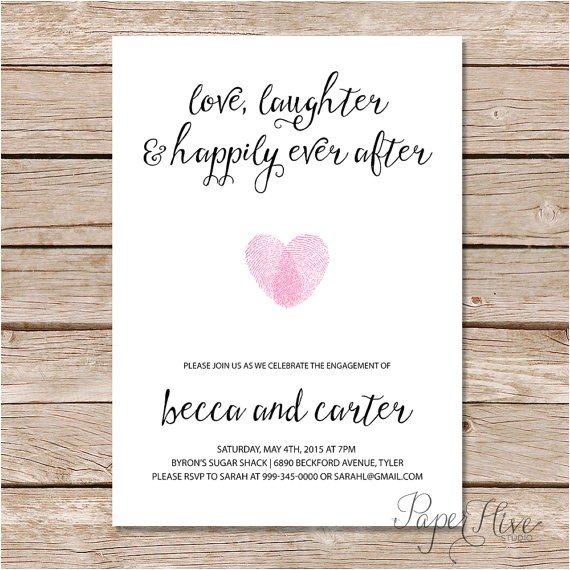 printable engagement party invitation modern wedding love laughter and happily ever after printable digital file