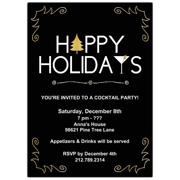 happy holidays cocktail party invitations p 628 57 386