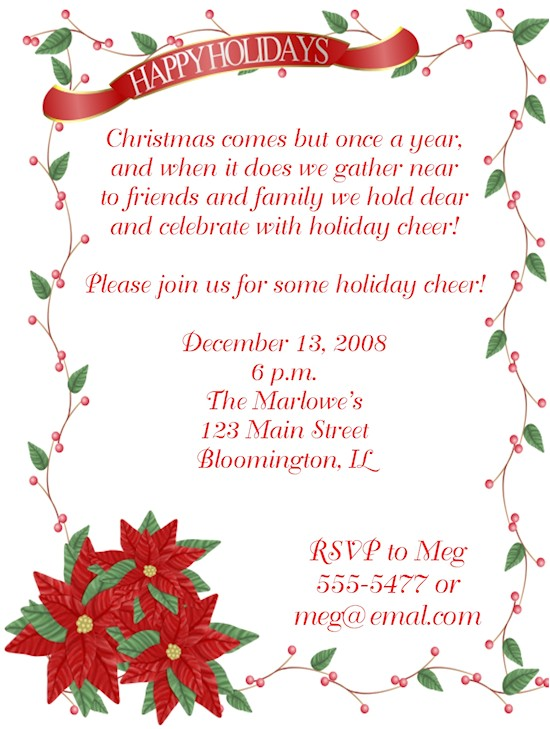 happy holidays poinsettia christmas party invitations