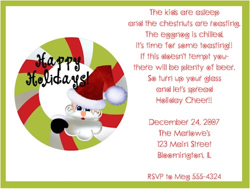 happy holidays santa wreath christmas party invitations