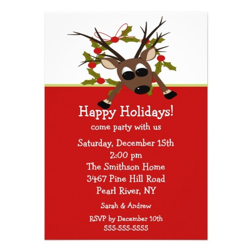 wacky reindeer happy holiday party invitation 161006712113690040