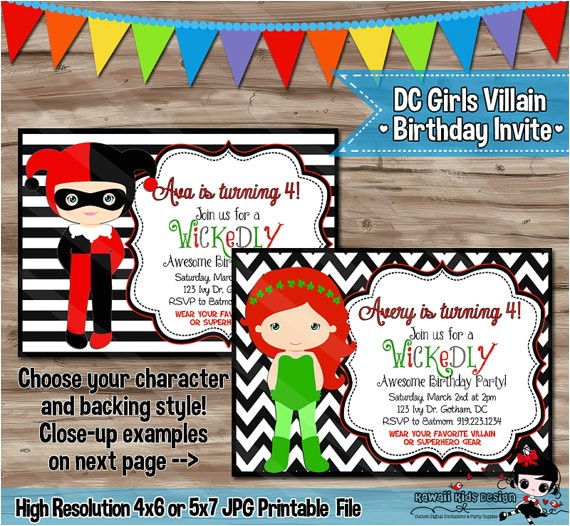 dc villain girls birthday invitation