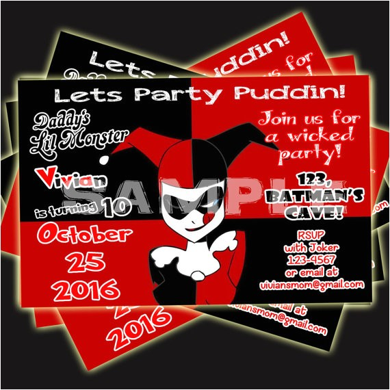 harley quinn invitation birthday ref market