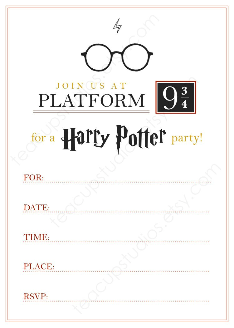 Harry Potter Birthday Invites Free Printables Printable Harry Potter Invitation Pdf