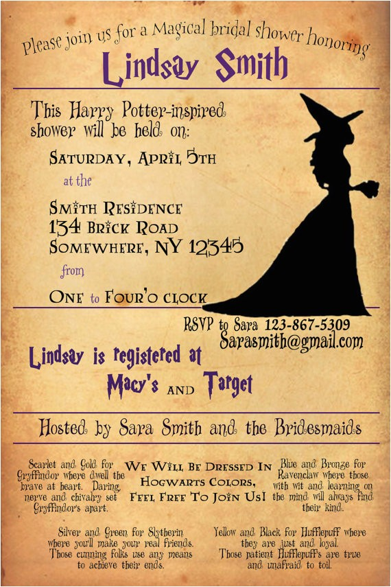 harry potter bridal shower invitation