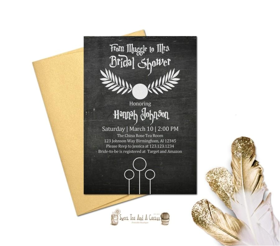 harry potter bridal shower wedding invitation printable chalkboard rustic unique sci fi geek nerd digital file party decor snitch