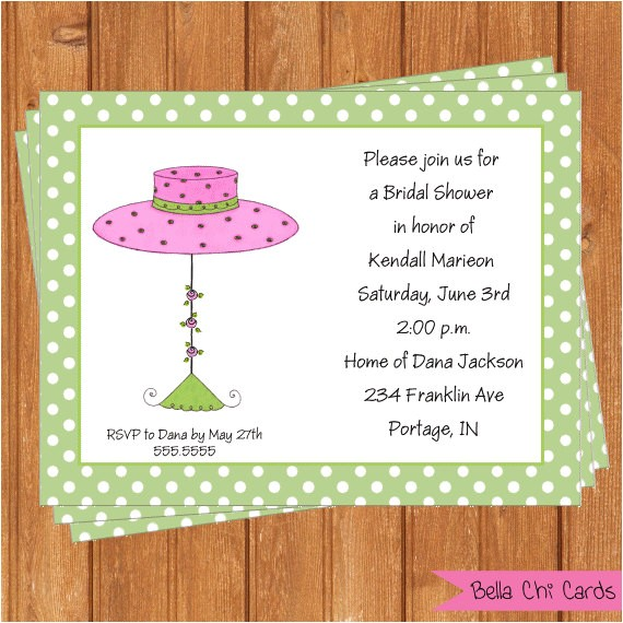 bridal shower invitations pink hat wsi346diy