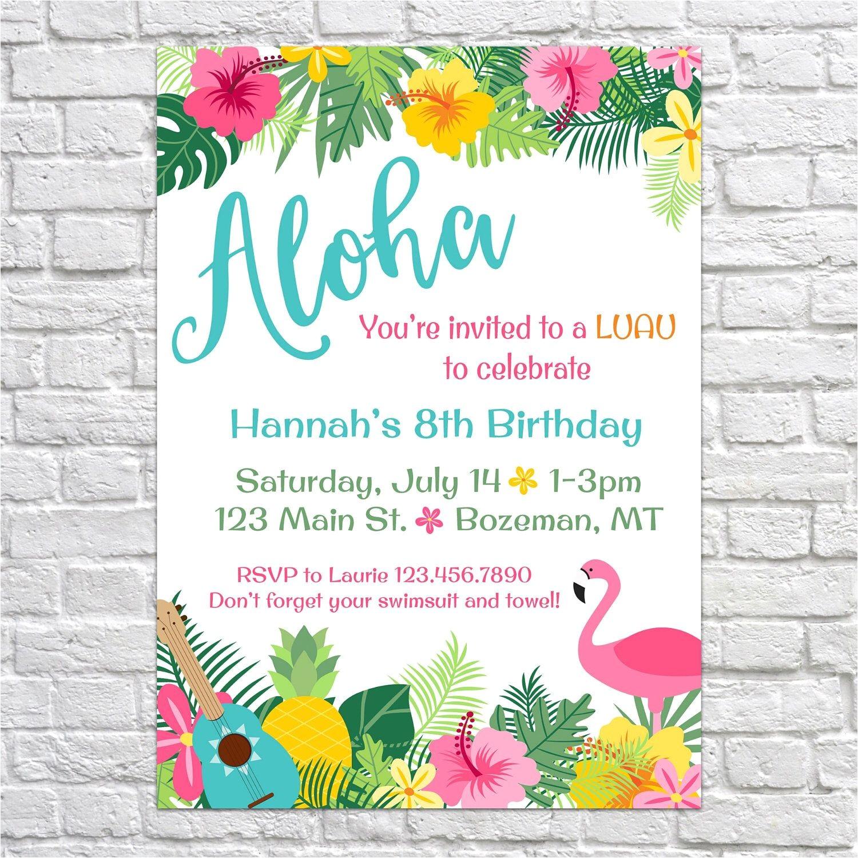 Hawaii theme Party Invites Luau Birthday Invites Aloha Pineapple Invitations Summer