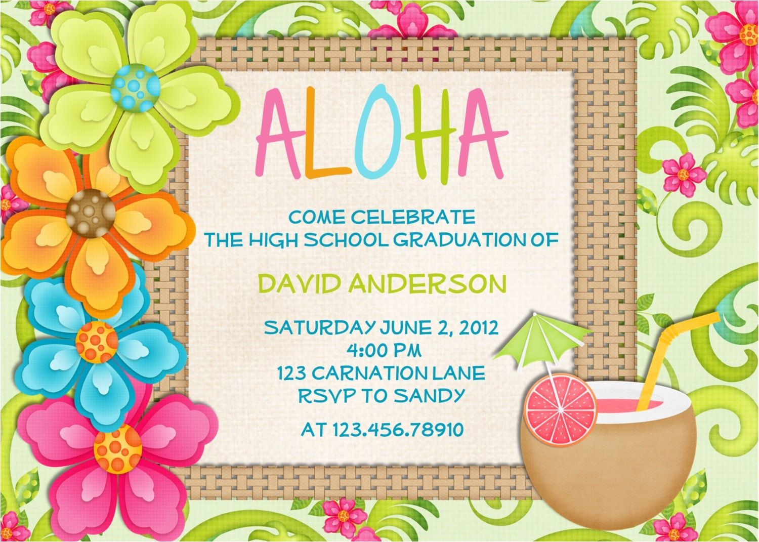 luau birthday invitations