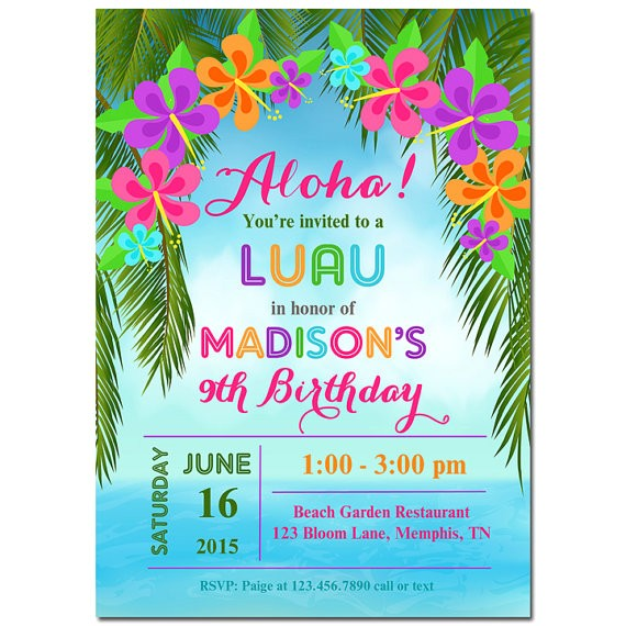 luau invitation printable or printed