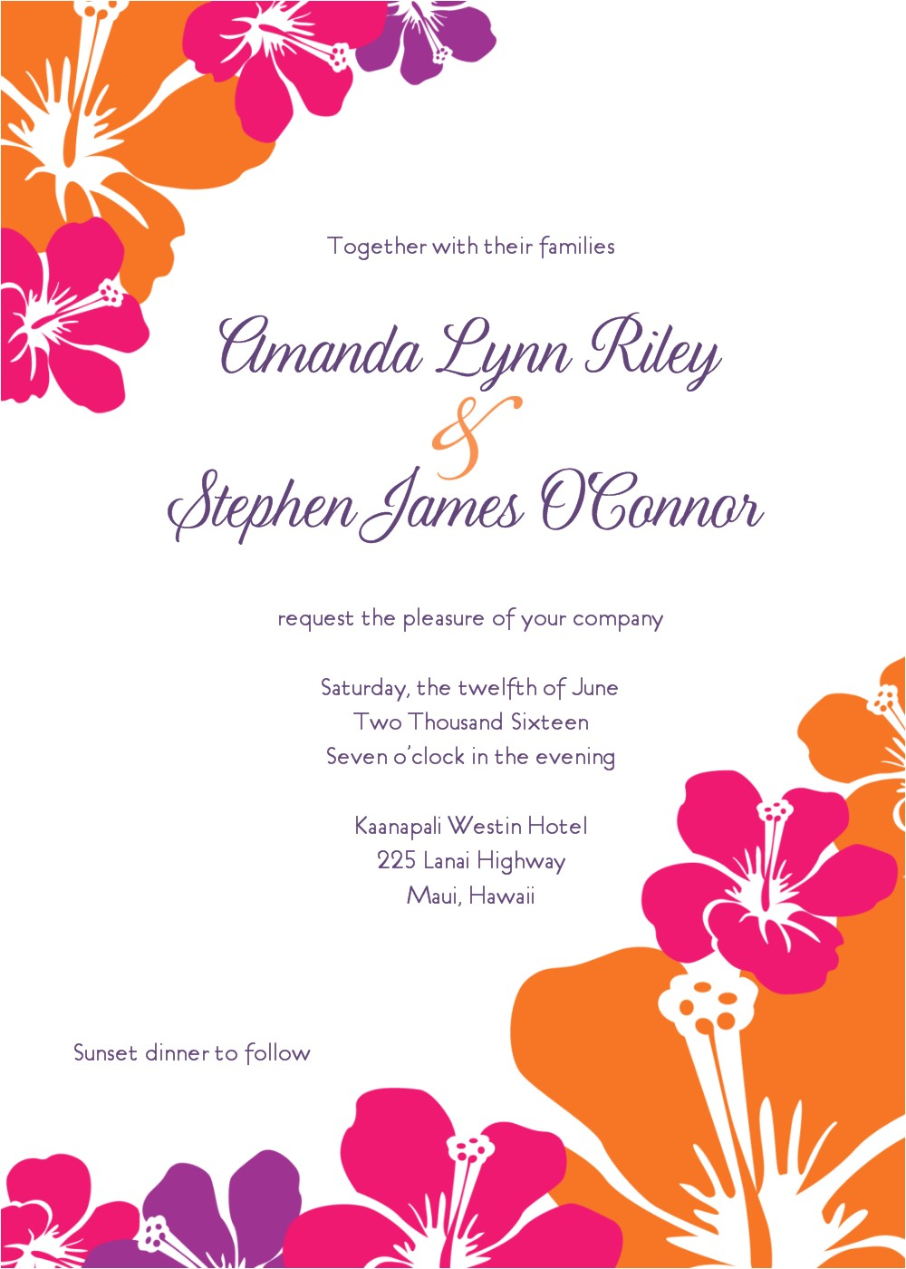hawaiian wedding invitations template