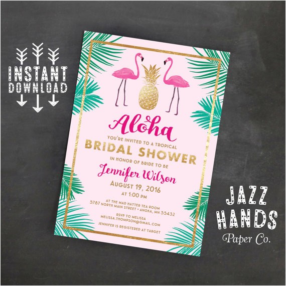 tropical flamingo bridal shower invitation template