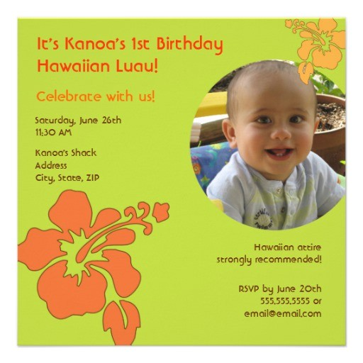 hawaiian luau first birthday photo invitation 161962473441537557