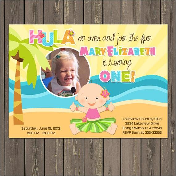 hula baby luau birthday party invitations