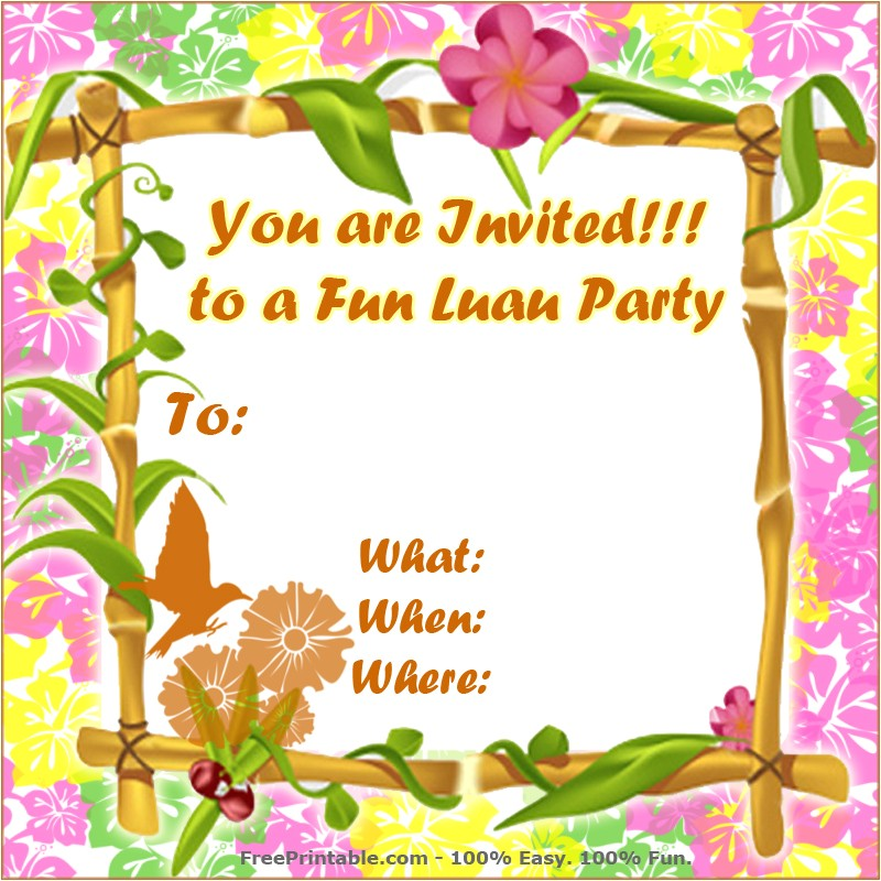 free luau invitations templates