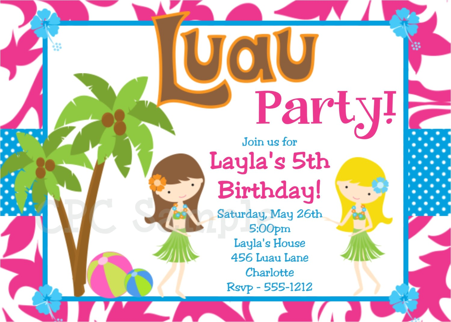 luau birthday invitation hawaiian beach