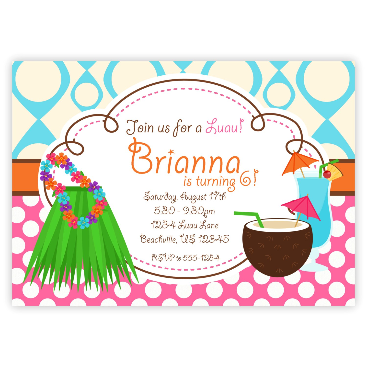 awesome hawaiian party invitations