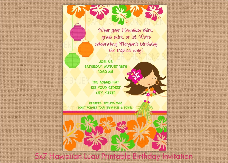 Hawaiian theme Party Invitations Printable Luau Clip Art