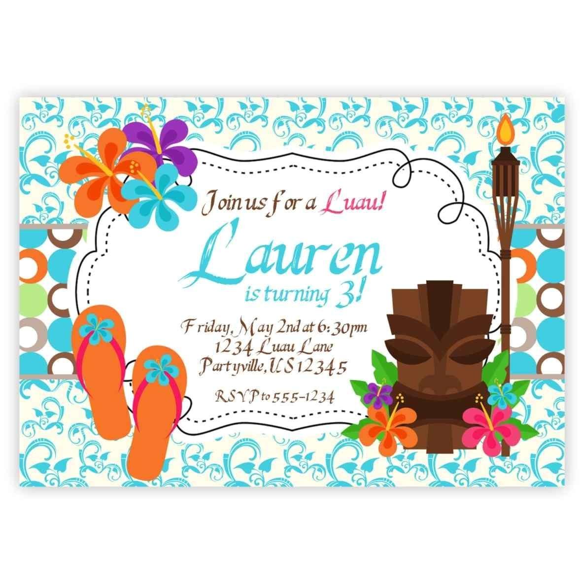 print at home diy invitation blank luau party invitations printable birthday little girl